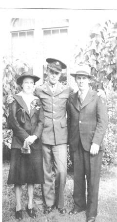 William R. Harry with parents 1942