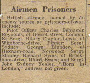 newspaper article of capture of RAF POWs in WWII