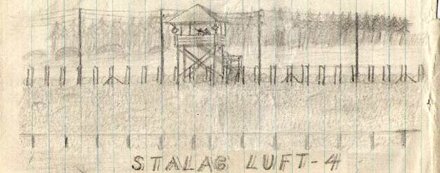 Drawing of view at Stalag Luft IV