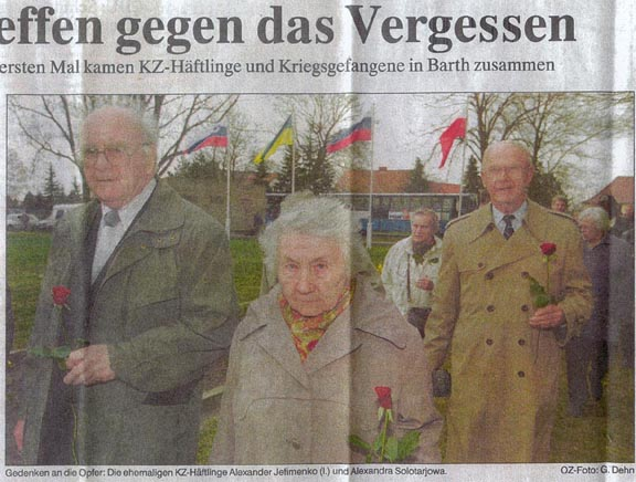 German newspaper photo of Ken and CC survivors