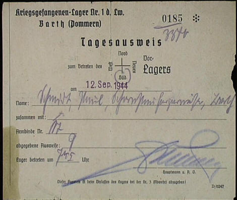 Gate pass from Stalag Luft I