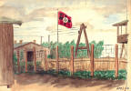 Watercolor of Stalag Luft I by Charles Early - POW