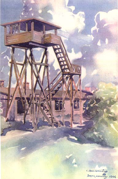 Guard tower at Stalag Luft I - Prisoner of War art