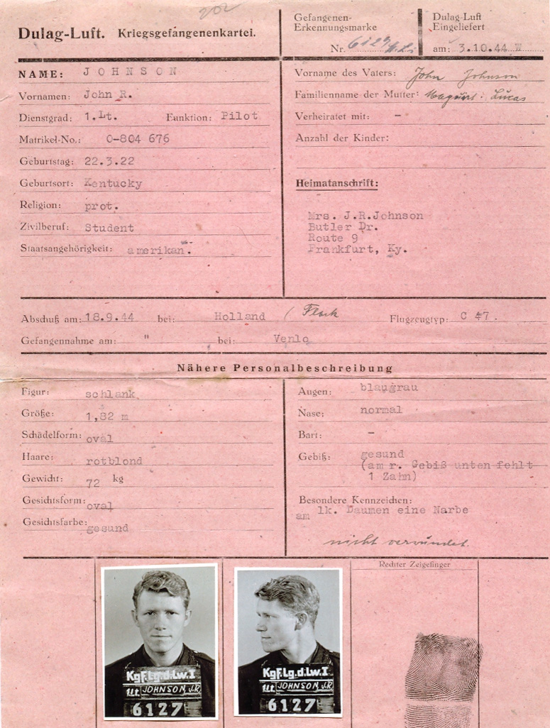 Prisoner of War identification card with photos