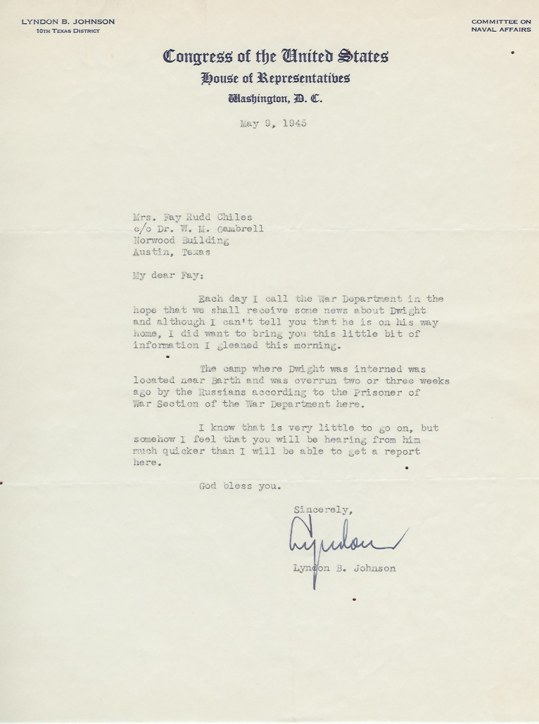 Letter from Lyndon B. Johnson - June 9, 1945