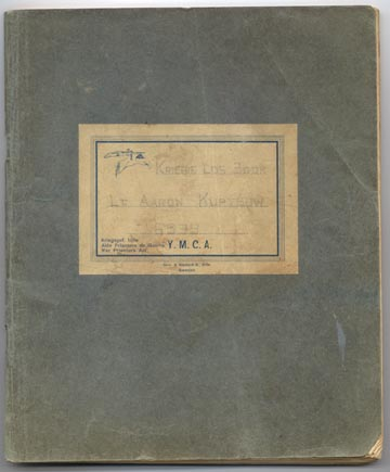 Lt. Aaron Kuptsow's YMCA wartime log book as a POW