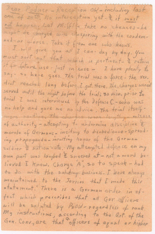 Col. Spicer's notes smuggled out of cooler during WWII