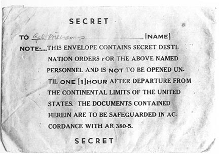 Secret orders envelope from World War II