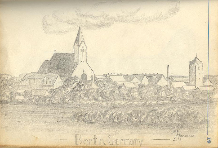 Lansdscape sketch of Barth, Germany by Jay Monicken