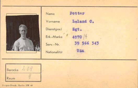 Leland C. Potter - POW identification card from WWII
