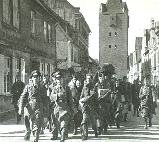 Prisoners of war marched through Barth, Germany