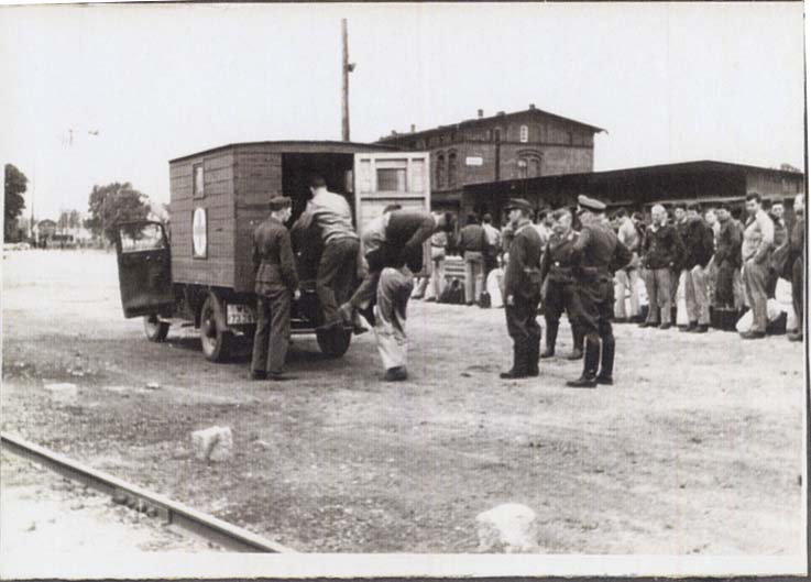 Red Cross Truck loading injured POWs at Stalag Luft i