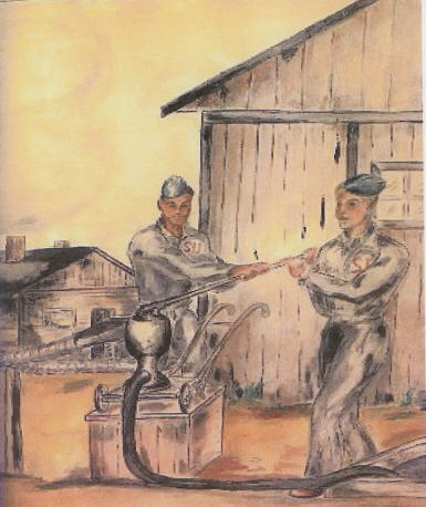 Russian Prisoners of War in German POW Camp - water color