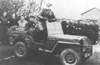 Russian General Marozil in a lend lease jeep at Stalag Luft I
