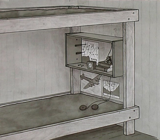 Drawing of secret radio hiding place