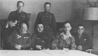 Col. Zemke with Soviet Commanders at former Luftwaffe headquarters